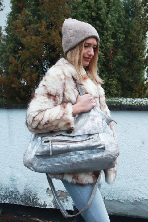 Fake Fur Jacke, Winterjacke, Wollmütze, Shopper, Silber, Used Look, Beige, Braun, Skinny Jeans, Grau. © Copyright Bettina Katscher 2020
